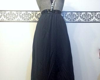 1950's Black Vintage Bettie Page  Half Slip, Size Large XL,  1960's Pin Up Half Slip , Vintage Rockabilly Black Slip, 50'sVintage Black Slip