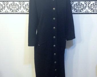 1960's Jet Black Kimberly Pure Wool Knit Long Sleeve Dress, Size Large, Vintage 1960's Black Sweater Dress, 1950's Black Wool Sweater Dress
