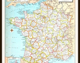 Vintage France Map, Large 12x9 Art Print, French Map, Colorful 1970s Book Plate, Paper Ephemera, Wall Art, Ready to Frame