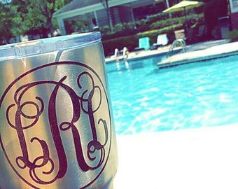 Yeti Monogram - 30  & 20 oz. Glitter and Regular Colors! Many Style choices and fonts!