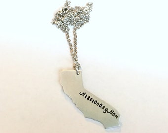 California Missionary Mom LDS Mormon Missionary Hand Stamped Necklace ANY STATE