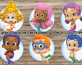 Bubble Guppies Character Decorations, Centerpieces, Wall Decor, Party Supplies, DIY Bubble Guppies Party Instant Download Printable PDF File