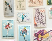 Vintage Athletics Postage Stamps Cancelled - Pack of 25 - Scrapbooking Collage Journaling Sports Olympics Paper Ephemera Vintage Supplies