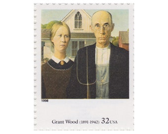 1998 32c Four Centuries of American Art Series - Grant Wood - American Gothic - 5 Unused US Postage Stamps - Item No. 3236q