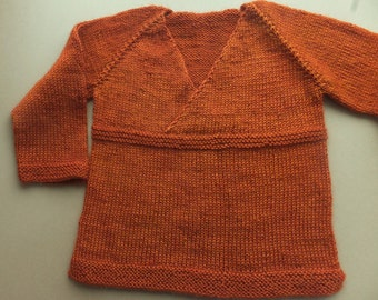 Hand Knitted Baby Sweater, Wool Baby Sweater, Boy Wool Sweater, Girl Wool Sweater, 12-24 months