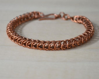 Thin Copper Chain Mail Bracelet, Box Chain Bracelet, Copper Chain, Handmade Chain,  Chain Mail Jewelry, Box Weave Bracelet, Gifts for Her