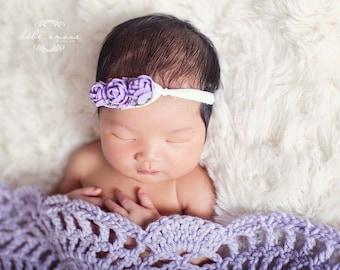Newborn/Infant Lavender Flower Headband on Super Soft Nylon Tieback/Stunning Newborn Headband/Very Unique/Photo Prop/Infant Headband