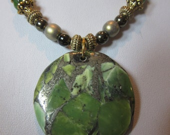 Green Jasper and Pyrite Necklace and Earring Set