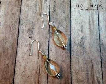 lemon quartz and czech glass earrings-faceted yellow quartz earrings-silver quartz earrings-faceted stone earrings-quartz drops-lemon drops