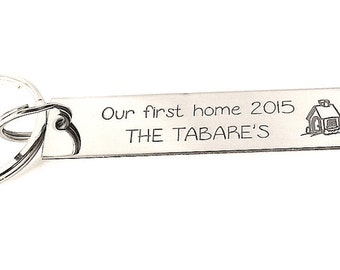 New Home Gift - Our First Home - Housewarming Gift - Custom Handstamped keychain Tag - Personalized Keychain