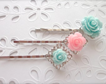 Rose Filigree Bobby Pins, Mint and Pink Rose Hair Pins, Romantic Bridal Hair Pins, Wedding Hair Pins, Hair Accessories, Rose Hair Clips