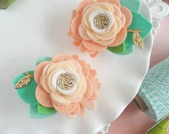 Peach Felt Flower Hair Clips  Peach Mini Felt Flower Crown.  Felt Flower Pigtail Hair Clips Infant. Toddler Peach Felt Flower Hair Clips.