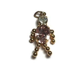October Birthstone Child Charm, Birthstone Necklace, Tourmaline Pendant,
