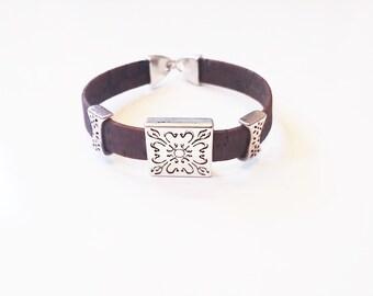Dark Brown Cork Metal Charm Bracelet