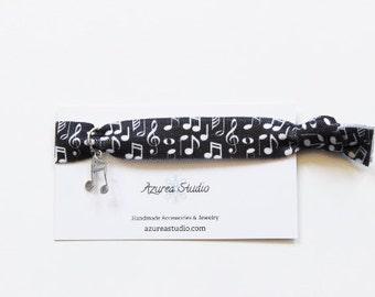 Music Notes Black White Hair Tie