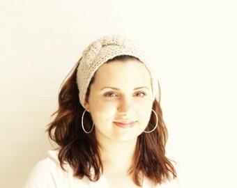Cream Knitted Bow Headband/ Cream Knitted Head Warmer