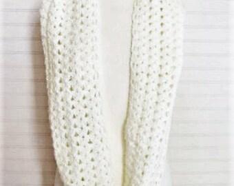 Cream Crochet Infinity Scarf