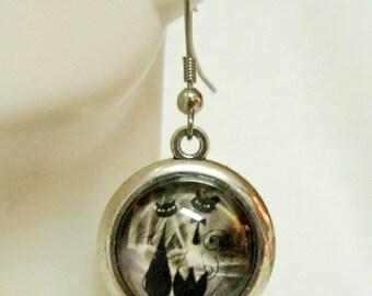 Tuxedo couple in black cat earrings - CAP07-036
