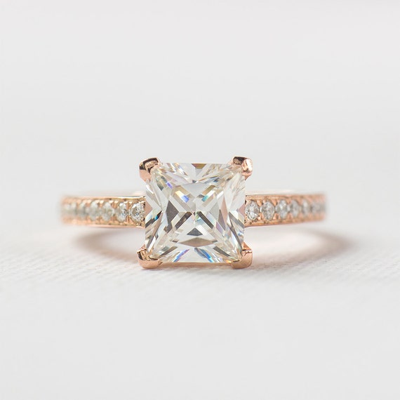 Princess Cut Engagement Ring Rose Gold Engagement by ZakviJewels