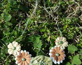 Green and Orange Flower Bib Necklace
