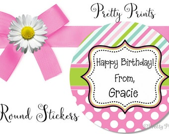 Birthday Stickers - Personalized Stickers - Stripes - Dots, Pink, Lime Green, Blue, Set of 12 Round Labels - Custom Stickers, Labels, Tags