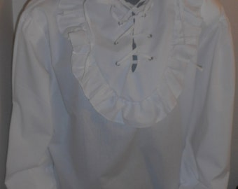 New mens large one size adult white SCA renaissance pirate poet shirt costume costumes