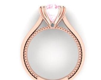 Engagement Ring, Wedding Diamond Rings, Bridal Ring, Diamond Alternative Engagement Rings, Perfect Ring, Morganite Proposal Ring