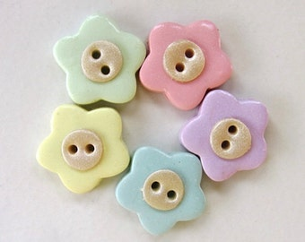 Pastel flower buttons - Set of 5
