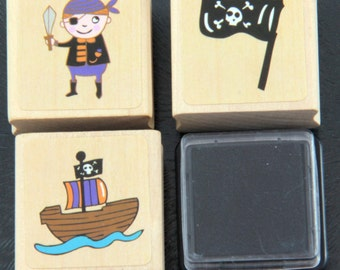 Cute Pirate Rubber Stamp Set with Ink Pad