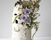 Studio Sisu Original Betula Rosa Art Sculpture, Inspired by Nature, Natural Birch Bark, Upper Michigan Driftwood, Handmade Roses, Beautiful!