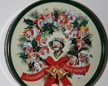 Vintage Emmett Kelly, Jr. Tin 1995 Green Stuff Licensing, Palm Desert, CA 1995 Olive Can, Christmas Tin, Fruit Cake Cookies, Gift Box
