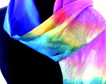 Vintage 70s Tie Dye Silk Scarf Good Professional Quality Handwork Most Vivid Rainbow Colors