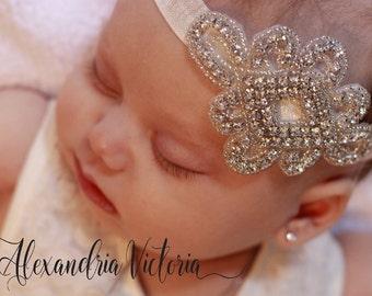 RHINESTONE HEADBAND, Bling Baby Headband, Baptism Headband, Christening Headband, Flower Girl Headband, Special Occasios..