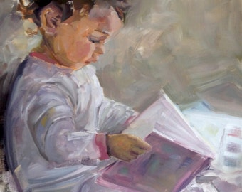 Original Oil Painting Young Child/Baby Reading Book, 16 x 20, FREE SHIPPING, unframed