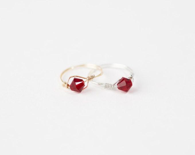 January Birthstone Ring - Swarovski Crystal Birthstone Ring-January Birthstone Crystal Bead Ring-Silver Birthstone Ring-Gold Birthstone Ring