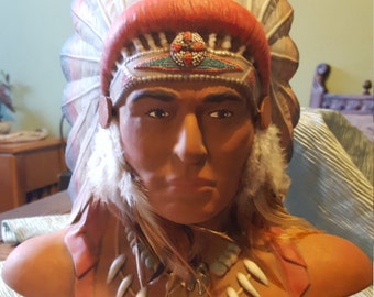 Ceramic American Indian Chief bust/statue.