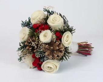 Christmas Wedding Bouquet, Holiday Bridal Boquet, Winter Wedding Flowers, Felt Bride Bouquet, Bridesmaid Flowers, Felt Roses, White and Red
