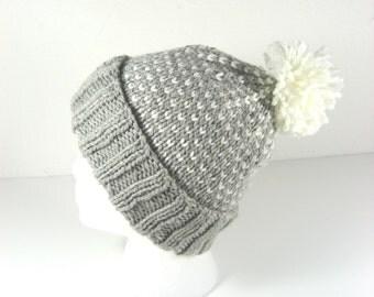 Pompom beanie, gray knit hat, merino toque, hand knit toque, merino wool hat, gray & white, snowflake hat, chunky knit hat, removable pompom