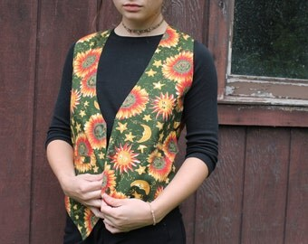 90s Vintage Vest // At Last & Co. // Bohemian // Sunflowers // Floral Womens // Patterned // Sun and Moon