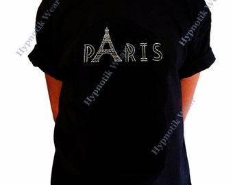 "Girls Rhinestone T-Shirt "" Paris Eiffel Tower "" Size XS to XL"