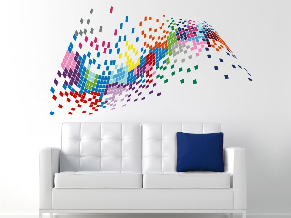 Pixel Wall Decals Full Color Decal Colorful Vinyl Decal