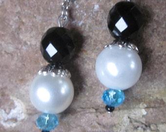 pearl earrings aqua blue earrings white pearl earrings  black czech glass earrings bohemian earrings dangle drop earrings women's earrings