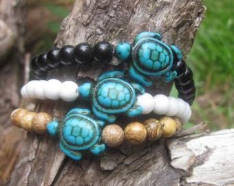 turtle bracelets turquoise sea turtle white quartz black obsidian brown picture jasper stone beaded stretch stacking healing bracelets