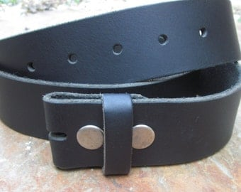 "Vintage Italian Full Grain Leather soft black snap belt black belt strap size large and x-large available 1.5"" wide belt for belt buckles"