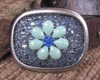 belt buckles embellished belt buckle beaded belt buckles  green and cobalt blue flower Sparkly Bohemian belt buckle boho Belt Buckle