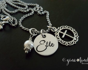 First Communion Necklace, Religious Jewelry, Confirmation Gift, Cross Charm Necklace, Personalized Name Necklace, Catholic Jewelry