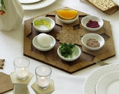Passover gift Seder plate + set of 6 pomegranate shape coasters, Modern Judaica design Jewish wedding gift,Jewish holiday gift,Star of david