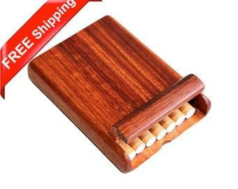 Rosewood Cigarette Case for 7 King-size Standard Cigarettes, Handcrafted Wooden Cigarette Box