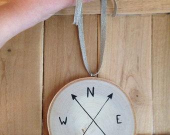 "Compass 5"" Minimalist Birch Tree Slice Wall Hanging / Natural Wood/ Original Illustration/ Hand Drawn Black Arrow Compass / Compass Decor /"