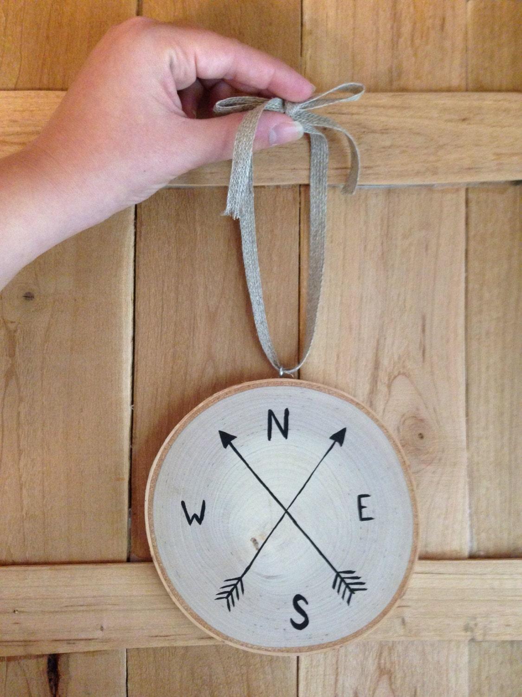 Compass 5 minimalist birch tree slice wall hanging for Minimalist wall hangings
